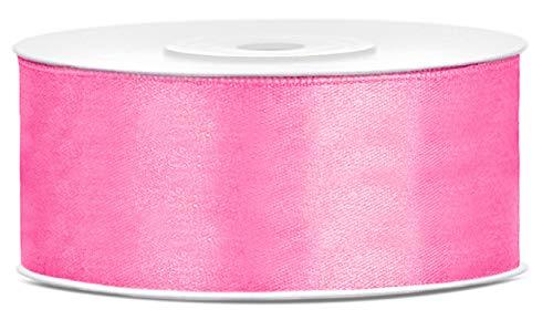 Libetui Satinband 25mm Schleifenband Rosa Satin Dekoband Pink Geschenkband Pink Deko Band für Weihnachten, Weihnachtsdeko, Geschenkverpackung Hochzeit Deko Geschenkband Rolle 25 Meter Pink