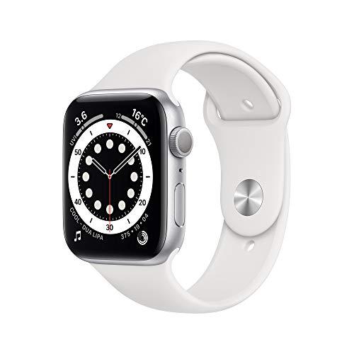 最新 Apple Watch Series 6(GPSモデル)- 44mmシルバーアルミニウムケースとホワイトスポーツバンド