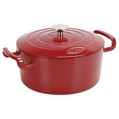 Sitram COCOTTE Sitrabella ronde en fonte émaillée 5 litres - Extérieur rouge et intérieur blanc - toutes sources de chaleur y compris induction et four - 711086