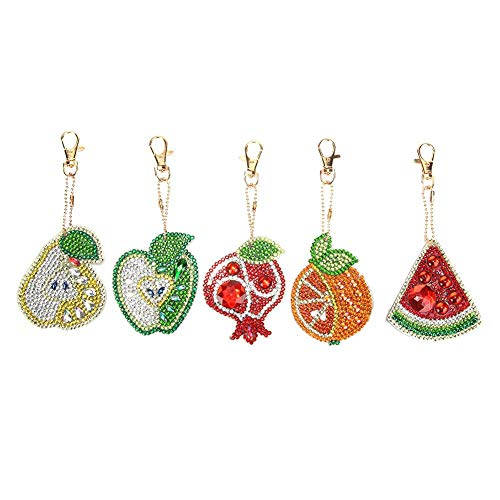 5pcs/Set DIY Fruits Full Drill Special Shaped Diamond Painting Keychain