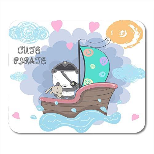 Tappetini per mouse Cute Baby Panda Bear Pirate and The Rabbit on Ship Calzini di progettazione di cartoni animati Bambini Complimenti Celebrazioni Tappetino per mouse, Notebook Desktop Stuoie per uff