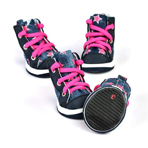 AMURAO Herbst Winter warm Haustier Kleiner Hund Denim Schuhe Anti-Rutsch-Canvas Casual Sport Puppy Sneaker Boots