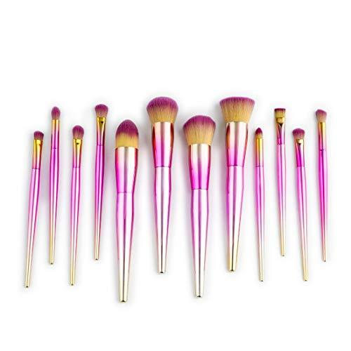 BERYLSHOP Outils Trousse de toilette à maquillage Brosse cosmétique en nylon Brosse à yeux 12 en 1 (Couleur : Rose)