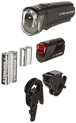 Trelock Beleuchtung LS 350 I-go Sport / 710 Reego Kombiset Batteriebeleuchtungsset Led-Batterie-leuchte, schwarz, 10 x 5 x 3 cm