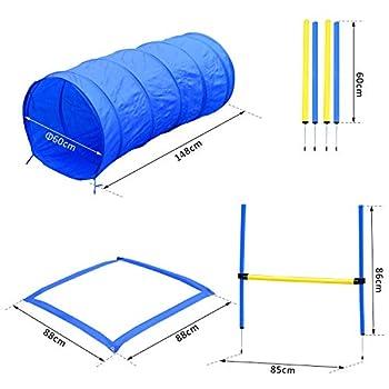Pawhut Agility Sport pour Chiens équipement Complet Obstacles, Tunnel, Slalom, Zone Repos + 2 Sacs de Transport Bleu Jaune