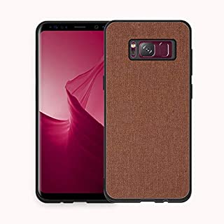 Protective Case Compatible with Samsung Samsung Galaxy S8+ Case, Fabric Cloth Style 2 in 1 Soft Side All Inclusive Protective Cover Phone Back Case Phone case (Color : Brown)