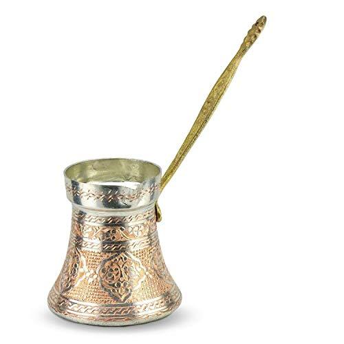 Turkische Gesticktes dickwandiges 600 ml Kaffeekanne Milchkanne aus Gross Kupfer in Silber Kocher Pot