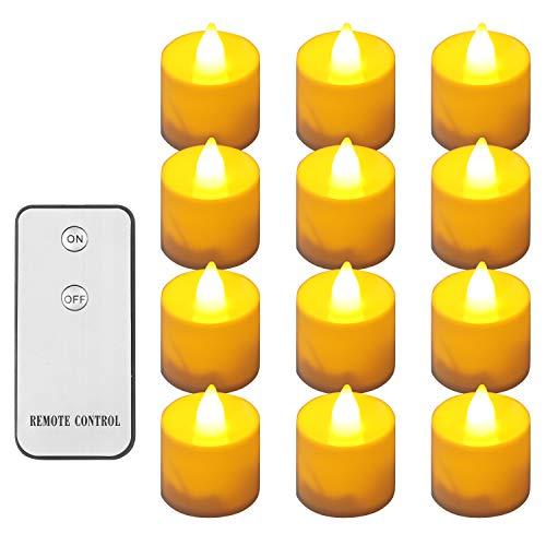 Four Heart Flammenlose Teelichter mit Fernbedienung, Elektrische Kerzen inkl Batteriebetriebe (12er(Schnabelform))