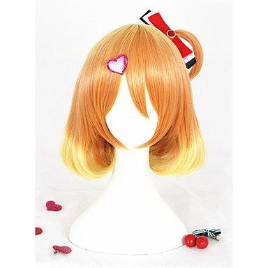 Js-wigs Femme Perruque synthétique courte droite Jaune Perruque de carnaval Perruque pour cosplay Halloween Perruque Costume Perruque