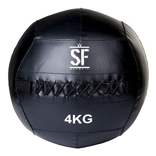 Suprfit Wall Ball - Medizinball für Cross Training und Functional Training, Gewichtsball mit griffiger Oberfläche gefertigt aus robustem PVC Material, Gewicht: 4 kg, Schwarz