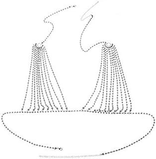 ZHONGYUE 2020 Luxury Crystal Bikini Bra Chest Belly Body Chains Jewelry for Women Rhinestone Body Chain Necklace Bra Jewelry Gift Sexy (Color : Clear, Size : Silver)