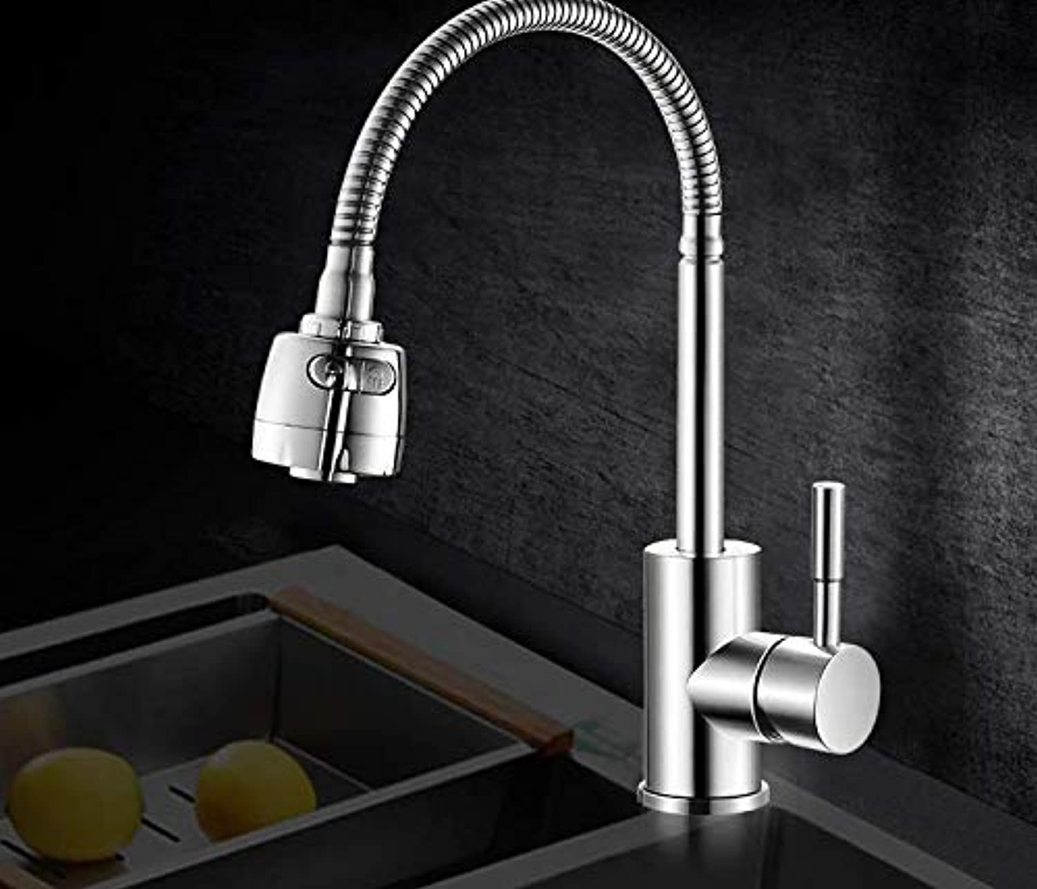Hot and Cold 304 Stainless Steel Sink Single Cold Faucet Household Sink Universal Faucet