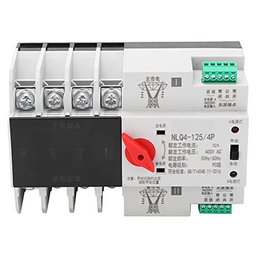 Interruptor de Transferencia Automática Montado en Riel Din 4P Trifásico 4 Hilos Control de Potencia Mecánico Ininterrumpido Disyuntor Automático 400V(32A)