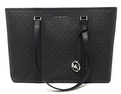 Michael Kors Large Sady Carryall Shoulder Bag Tote in Signature Canvas with MK Print. Top Zip Closure; Detachable MK logo Charm; Flat bottom with protective metal feet Exterior has 1 slip pocket with fabric lining; Interior has 1 zip pocket and 2 mul...