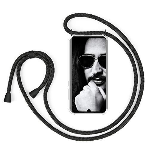 ZhinkArts Cadena para Teléfono Móvil Compatible con Huawei P30 Pro - Funda con Collar de Cordón para Smartphone - Carcasa con Correa para Celular para Llevar - Negro/Negro