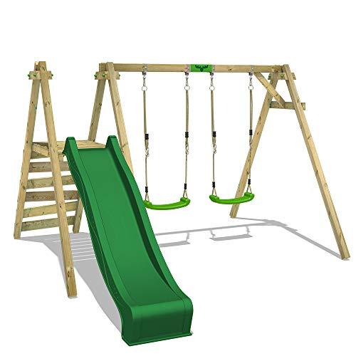 FATMOOSE Kinderschaukel Schaukelgestell JollyJack mit grüner Rutsche Schaukel, Schaukelgerüst, Doppelschaukel, Holzschaukel