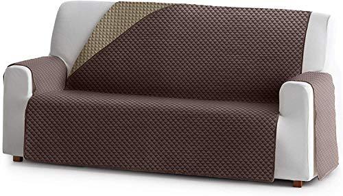 JM Textil Reversibler Sofaschoner Elena, 2 Sitzer, gefütterter Schutz für Sofas Farbe Braun 07