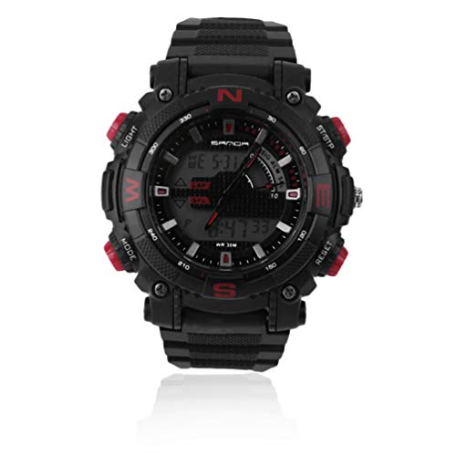 Sanda Outdoor Sportuhr Luminous LED Digital Elektronische Uhr Wasserdicht Quarz Armbanduhr Alarm Militäruhren - Schwarz Und Rot