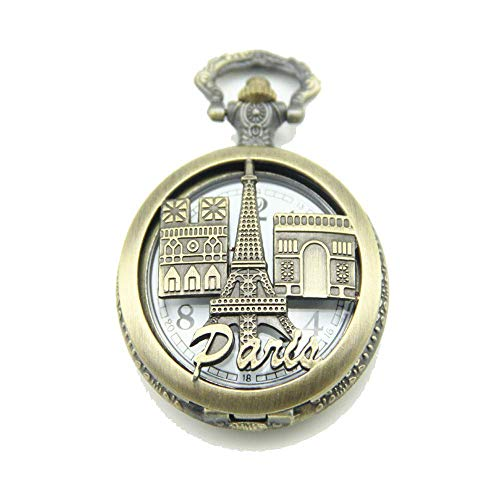 NHLBD LIJIANZI Worth having - Retro Castle Tower Taschenuhr Halskette Buchstaben Taschenuhr Anhänger (ohne Kette) für Männer Frauen