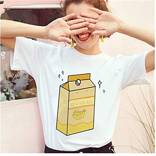 YDXC Camiseta De Mujer De Mayos Camiseta De Leche De Plátano Camiseta Coreana para Mujer Mini Gráfico De Dibujos Animados De Leche para Mujer Harajuku De Los Años 90 Top-13_M para Mujer