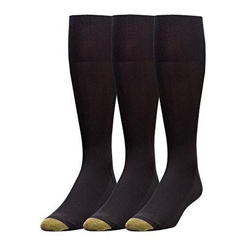 Gold Toe Men's Metropolitan Over the Calf Dress Socks (4 PK (12 PAIRS), Black)