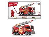 Dickie Toys 201137002 201137002-Fire Fighter - Camión de Bomberos con Rueda Libre, luz y Sonido, Bomba de Agua Manual, 36 cm, Color Rojo