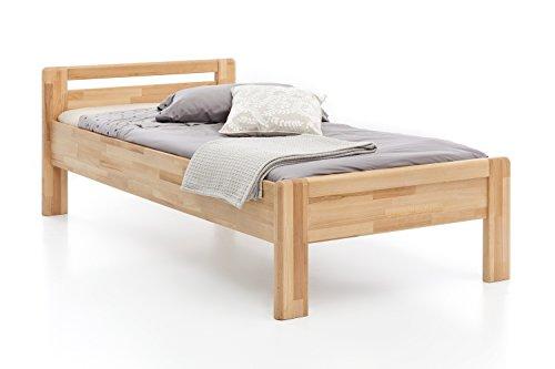 Woodlive Massivholz-Bett aus Kernbuche, als Seniorenbett geeignet, in Komforthöhe, geöltes Einzel- und Komfortbett mit Kopfteil (90 x 200 cm)