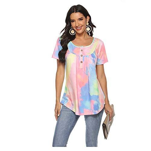 Camiseta para Mujer Botón con Cuello En V Blusa De Teñido Anudado Degradado Blusa Suelta De Manga Corta,Rosado,L