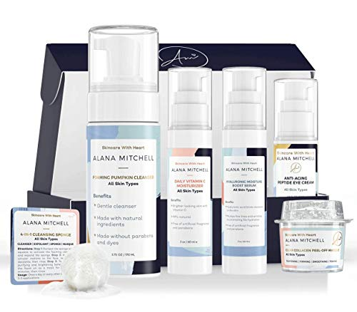 At Home Facial Kit - 7 piece Set - Multiple Facials with Eye Cream, Face Cleanser, Vitamin C Moisturizer, Hyaluronic Serum, Collagen Peel Off Mask and Exfoliating Sponge - Exfoliate Cleanse Moisturize