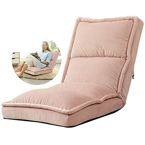 LHn-Cn faltbarer Bodenstuhl, ergonomisch, gepolstert, Lazy Sofa, tragbarer Lesestuhl, Riesen-Sitzkissen, Stuhl für Kinder und Erwachsene, Pink