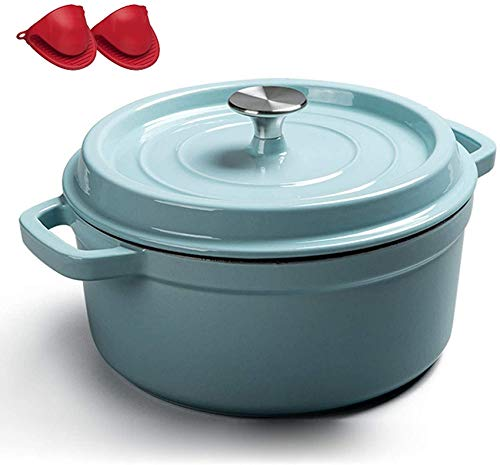 YZ-YUAN Four hollandais recouvert de Fonte émaillée Home Premium, Pot en émail antiadhésif avec Gants en Silicone, Pot à Soupe en Fonte de ménage Professionnel (24 cm), Bleu