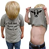 MODNTOGA Summer Ask me About My moo Cow, Toddler Kids Baby Boys T-Shirt Short Sleeve Tops Tees (Gray, 120 (4-5T))
