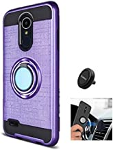 LG Aristo 3 Case, Phone Case for LG Tribute Empire, Metal Texture Design Ring Stand Case + Air Vent Magnetic Mount Holder (Purple-Car Mount Holder)