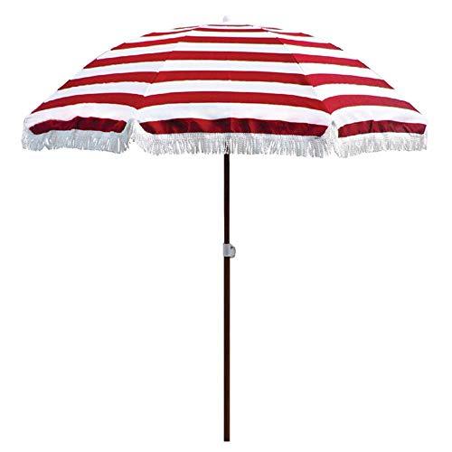 HZK 6.5 pies / 2m sombrilla de Playa/Exterior Ronda Sol de Jardín / UPF50 +, Conveniente for al Aire Libre Patio Terraza de Verano de Fiesta, Rojo Rayas y Rayas Azules WDDT (Size : Red Stripes)
