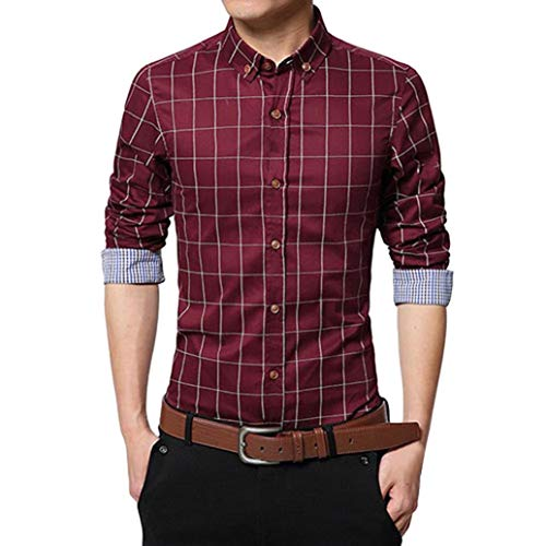 MRULIC Oktoberfest Herren Langarmshirt Kariert Shirt Button-down Hübsches T-Shirt(Burgundy,EU-48/CN-XL)