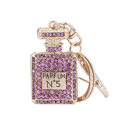Chanhan Künstliche Parfümflaschen Inlay Strass Schlüsselanhänger Tasche Schlüssel Anhänger für Damen Geldbörse Schlüssel champagnerfarben
