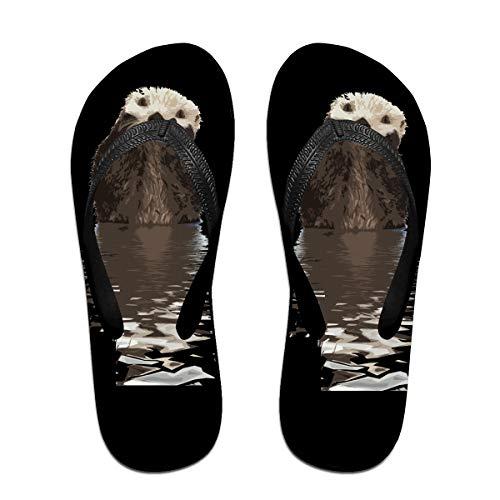 Iop 90p Süße Otters Flip Flops Hausschuhe Strand Sandalen Pool Schuhe, Schwarz - Schwarz - Größe: Large