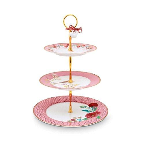 Pip Studio Floral Pr sentoir g teaux 3 tages rosa