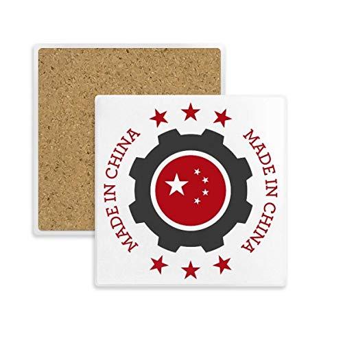 DIYthinker Chinoise Place Rouge Nationale Etoiles Cog Coaster Tasse Porte Absorbent Pierre pour Le Cadeau de Boissons Multicolor