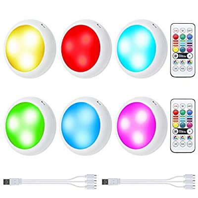 Rechargeable Puck Lights, OxyLED RGB Color Changing LED Closet Lights Wireless Under Cabinet Lighting Cupboard Lighting Night Lights with 2 Remote, Dimmer & Timing Function (6 Pack)