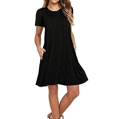 Naokenu Women Short Sleeve Swing Dress with Pockets Casual Loose T-Shirt Dress