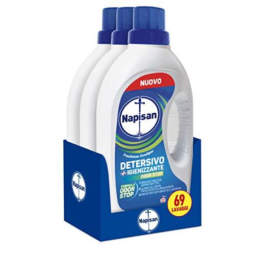 Napisan Detergente líquido para lavadora, detergente higienizante, fórmula inodora, prendas sintéticas y deportivas, 69 lavados, 3 paquetes de 23 lavados