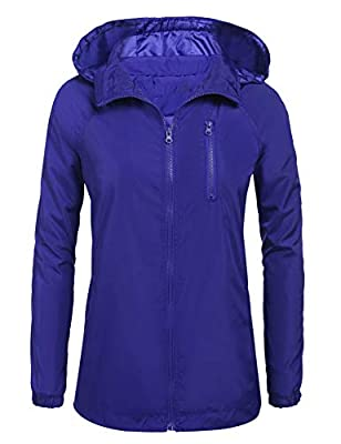 Mofavor Women's Outdoor Lightweight Windbreaker Jacket Short Coat with Hooded