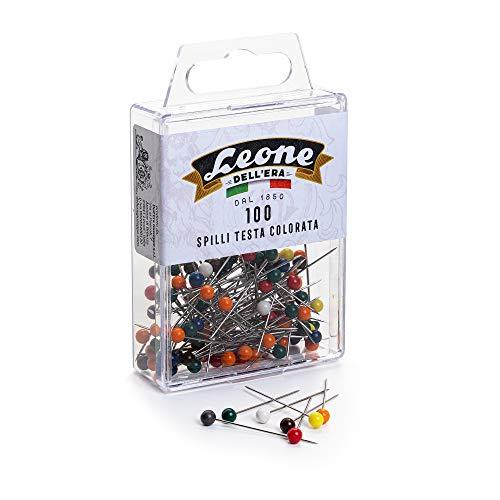 Leone Dell'Era 100 Spilli Inox Testa di plastica Colorata (mm. 0,60 x 32) -Scatola appendibile, Colori Assortiti, Pezzi
