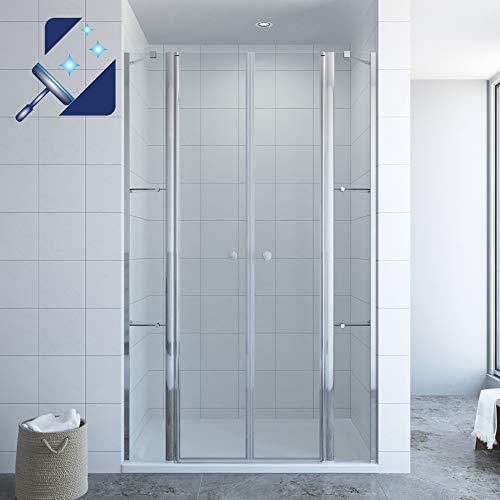 AQUABATOS® Duschtür in Nische 140 x 195 cm mit Festteilen und Duschablagen aus 6mm Nanobeschichtung Glas, Nischentür Dusche mit Wandablagen, Duschwand Glas Drehtür Pendeltür mit Glasregale Eckregale