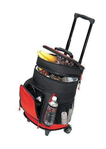 Travel5.0 4013RED Deluxe Ripstop Beach Picnic Rolling Cooler with Wheels, One, RED