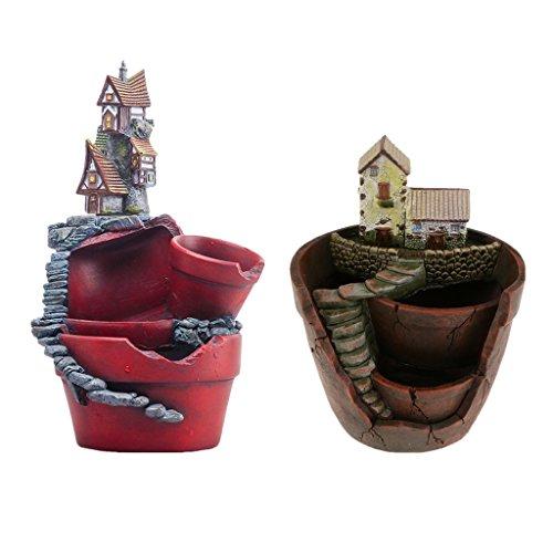 MagiDeal 2pcs Pot de Plantes Fleurs Succulentes en Résine Design Créatif Maison Château Magique - #2
