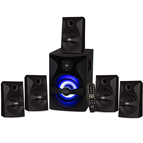 Acoustic Audio by Goldwood AA5400 Bluetooth 5.1 Speaker System with Sub Light and FM Home Theater 6 Speaker Set, Black (Renewed)