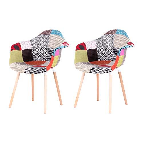 Uderkiny 2er-Set Patchwork Stuhl mit Armlehnen, geeignet für Kuche Wohnzimmer Esszimmer Schlafzimmer usw (Rot)