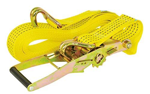 Carpoint 0928053 spanbanden met ratel en haak 9 meter, geel